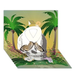 Funny Skull With Sunglasses And Palm Ribbon 3d Greeting Card (7x5)  by FantasyWorld7