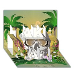 Funny Skull With Sunglasses And Palm Take Care 3d Greeting Card (7x5)  by FantasyWorld7