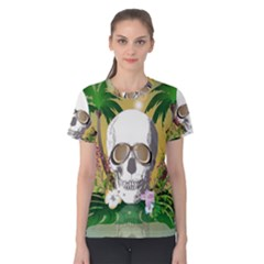 Funny Skull With Sunglasses And Palm Women s Cotton Tees