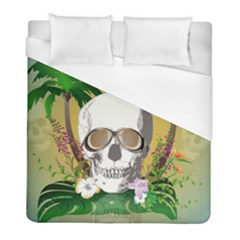 Funny Skull With Sunglasses And Palm Duvet Cover Single Side (twin Size)