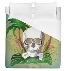 Funny Skull With Sunglasses And Palm Duvet Cover Single Side (full/queen Size)