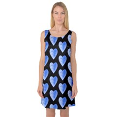 Heart Pattern Blue Sleeveless Satin Nightdresses by MoreColorsinLife