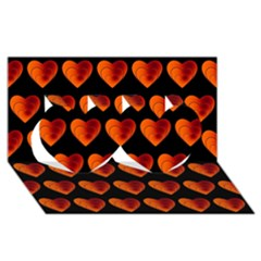 Heart Pattern Orange Twin Hearts 3d Greeting Card (8x4)  by MoreColorsinLife