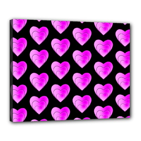 Heart Pattern Pink Canvas 20  X 16