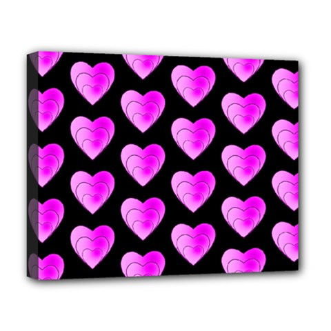 Heart Pattern Pink Deluxe Canvas 20  X 16   by MoreColorsinLife
