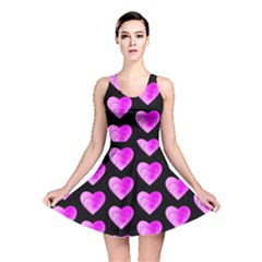 Heart Pattern Pink Reversible Skater Dresses by MoreColorsinLife