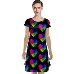 Heart Pattern Rainbow Cap Sleeve Nightdresses