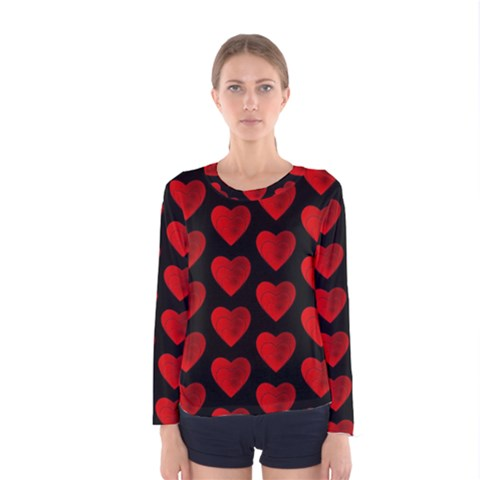 Heart Pattern Red Women s Long Sleeve T-shirts by MoreColorsinLife