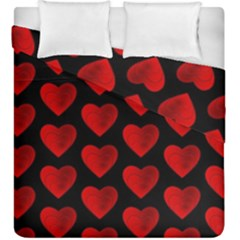 Heart Pattern Red Duvet Cover (king Size)
