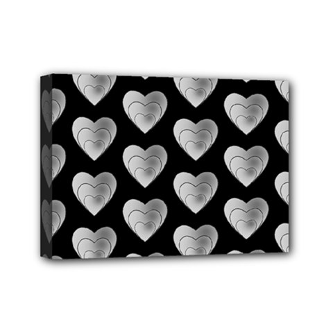 Heart Pattern Silver Mini Canvas 7  X 5  by MoreColorsinLife