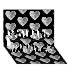 Heart Pattern Silver You Are Invited 3d Greeting Card (7x5)