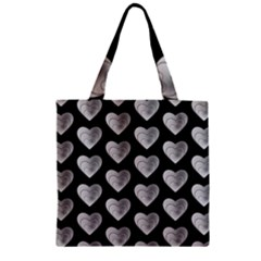 Heart Pattern Silver Zipper Grocery Tote Bags by MoreColorsinLife