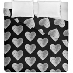 Heart Pattern Silver Duvet Cover (king Size)