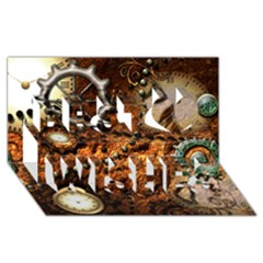 Steampunk In Noble Design Best Wish 3d Greeting Card (8x4)