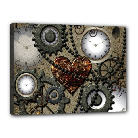 Steampunk With Clocks And Gears And Heart Canvas 16  X 12