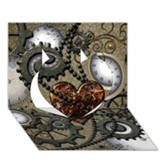 Steampunk With Clocks And Gears And Heart Heart 3d Greeting Card (7x5)  by FantasyWorld7