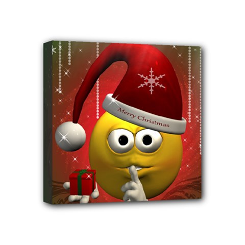 Funny Christmas Smiley Mini Canvas 4  X 4  by FantasyWorld7