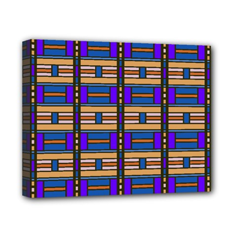 Rectangles And Stripes Pattern Canvas 10  X 8  (stretched) by LalyLauraFLM