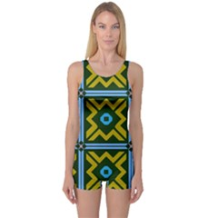 Rhombus In Squares Pattern Women s Boyleg One Piece Swimsuit by LalyLauraFLM
