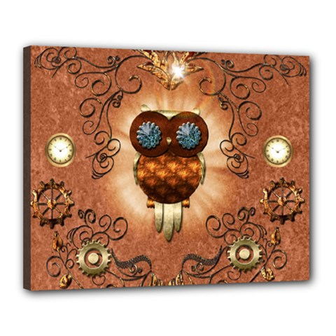 Steampunk, Funny Owl With Clicks And Gears Canvas 20  X 16  by FantasyWorld7