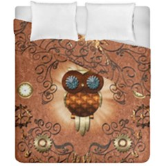 Steampunk, Funny Owl With Clicks And Gears Duvet Cover (double Size) by FantasyWorld7