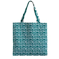 Teal And White Owl Pattern Zipper Grocery Tote Bags by creativemom