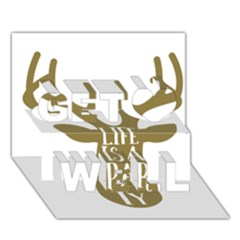 Life Is A Party Buck Deer Get Well 3d Greeting Card (7x5)  by CraftyLittleNodes