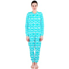 Aqua Turquoise And White Owl Pattern Onepiece Jumpsuit (ladies)  by creativemom