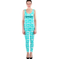 Aqua Turquoise And White Owl Pattern Onepiece Catsuits