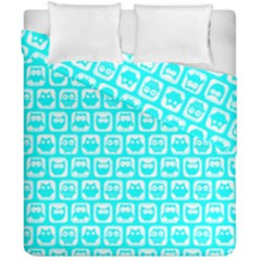 Aqua Turquoise And White Owl Pattern Duvet Cover (double Size) by creativemom