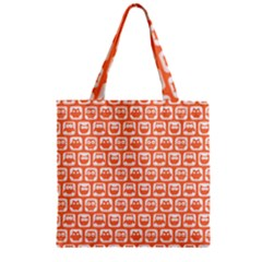 Coral And White Owl Pattern Zipper Grocery Tote Bags