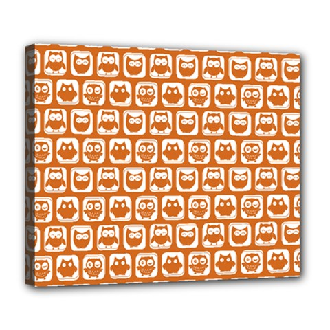 Orange And White Owl Pattern Deluxe Canvas 24  X 20   by creativemom