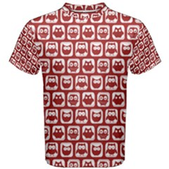 Red And White Owl Pattern Men s Cotton Tees