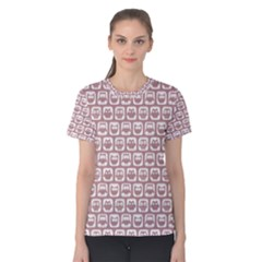 Light Pink And White Owl Pattern Women s Cotton Tees