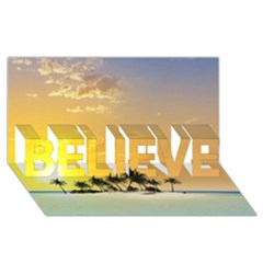 Beautiful Island In The Sunset Believe 3d Greeting Card (8x4)  by FantasyWorld7