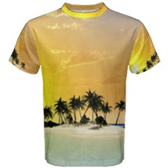 Beautiful Island In The Sunset Men s Cotton Tees by FantasyWorld7
