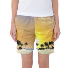 Beautiful Island In The Sunset Women s Basketball Shorts by FantasyWorld7