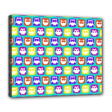 Colorful Whimsical Owl Pattern Deluxe Canvas 24  X 20   by creativemom