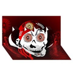 Funny Happy Skull Twin Hearts 3d Greeting Card (8x4)  by FantasyWorld7