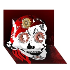 Funny Happy Skull Love 3d Greeting Card (7x5)  by FantasyWorld7