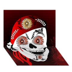 Funny Happy Skull Circle Bottom 3d Greeting Card (7x5)  by FantasyWorld7