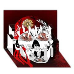 Funny Happy Skull Thank You 3d Greeting Card (7x5)  by FantasyWorld7