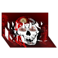 Funny Happy Skull Merry Xmas 3d Greeting Card (8x4)  by FantasyWorld7