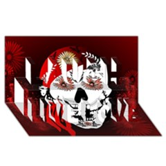 Funny Happy Skull Laugh Live Love 3d Greeting Card (8x4)  by FantasyWorld7