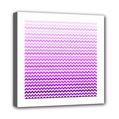 Purple Gradient Chevron Mini Canvas 8  X 8  by CraftyLittleNodes