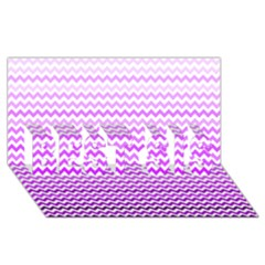 Purple Gradient Chevron Best Sis 3d Greeting Card (8x4)  by CraftyLittleNodes