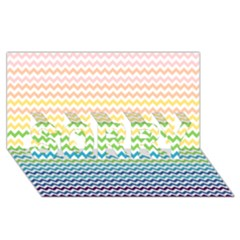 Pastel Gradient Rainbow Chevron Sorry 3d Greeting Card (8x4)