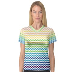 Pastel Gradient Rainbow Chevron Women s V Neck Sport Mesh Tee by CraftyLittleNodes