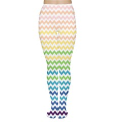 Pastel Gradient Rainbow Chevron Women s Tights by CraftyLittleNodes