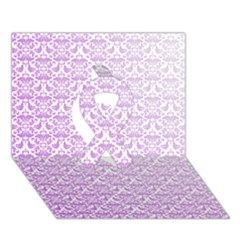 Purple Damask Gradient Ribbon 3d Greeting Card (7x5)  by CraftyLittleNodes
